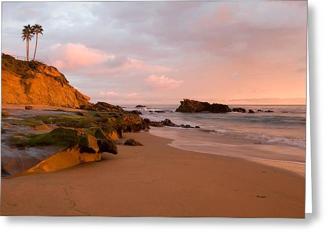 Sandstone Bluffs Greeting Cards - Sunset Glow  Laguna Beach Greeting Card by Cliff Wassmann
