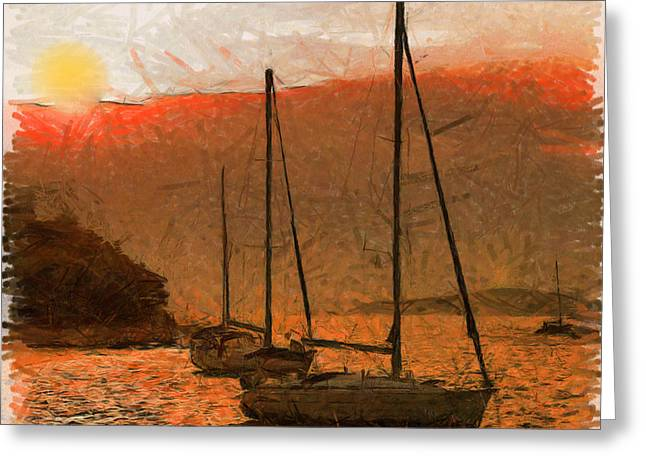 Yellow Sailboats Digital Art Greeting Cards - Sunset Harbor Greeting Card by Anthony Caruso