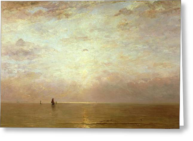 Sunset Seascape Paintings Greeting Cards - Sunset Greeting Card by Hendrik William Mesdag