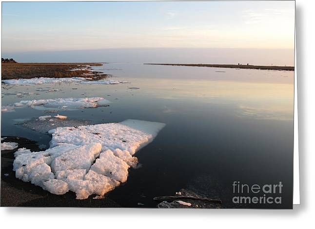 Griswold Greeting Cards - Sunset Ice Flow Greeting Card by B Rossitto