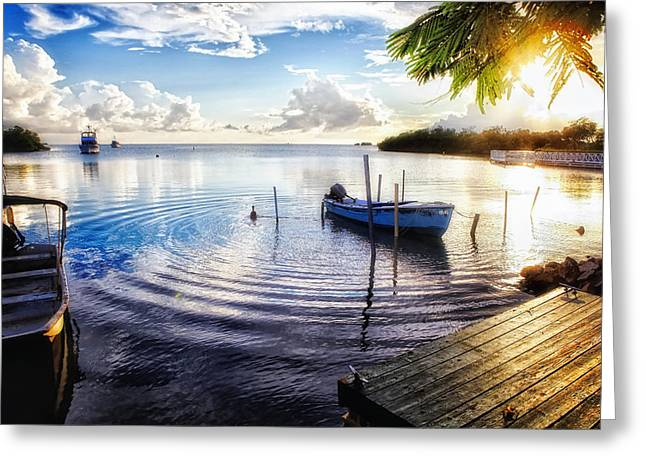 Sunset in a Fishing Village Greeting Card by George Oze