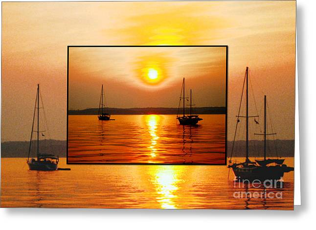 Sailboat Greeting Cards - Sunset in a Sunset Greeting Card by Judee Stalmack