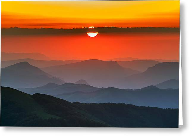 Central Balkan Greeting Cards - Sunset in Balkans Greeting Card by Evgeni Dinev