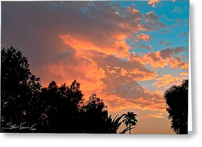 Steve Knievel Greeting Cards - Sunset in Calm Skies Two Greeting Card by Steve Knievel