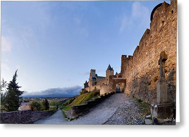 Languedoc Greeting Cards - Sunset in Carcassonne Greeting Card by Robert Lacy