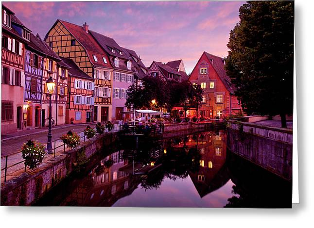 Wine Route Greeting Cards - Sunset in Colmar Greeting Card by Brian Jannsen