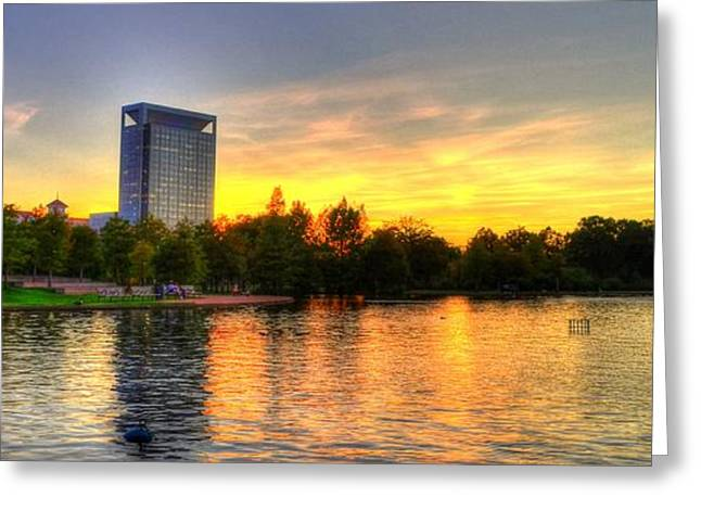 Hermann Greeting Cards - Sunset in Hermann Park Greeting Card by David Morefield