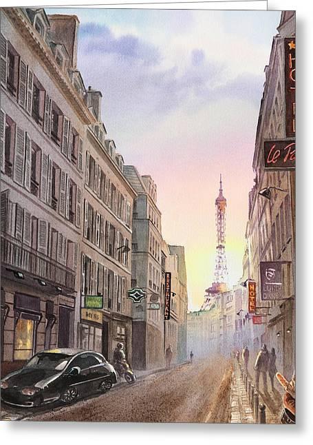 Sunset In Paris Greeting Card by Irina Sztukowski