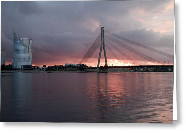 Sunset In Riga Greeting Card by Claudia Fernandes