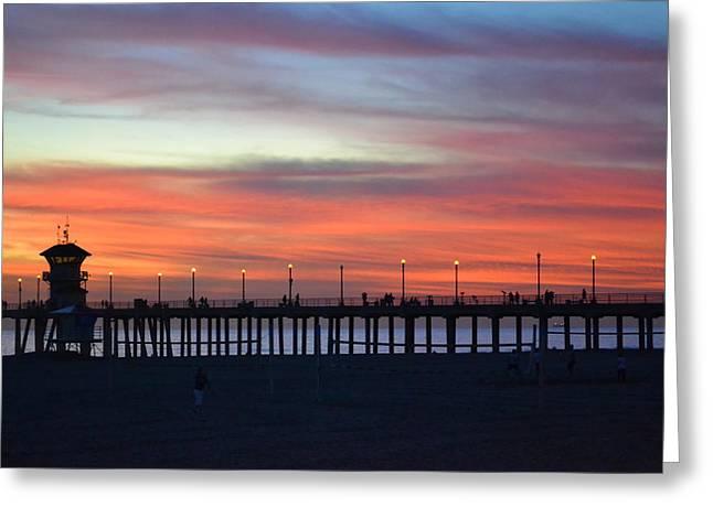 Sunset in San Diego Greeting Card by Karen Becker