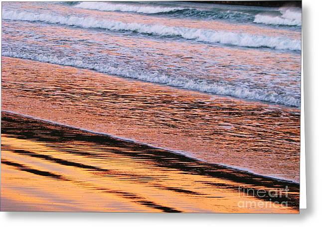 Sunset In Sand And Waves Greeting Card by Michele Penner