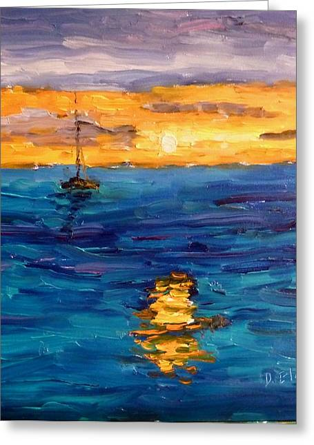 Sailboats In Water Greeting Cards - Sunset in St Croix Greeting Card by Diane Elgin