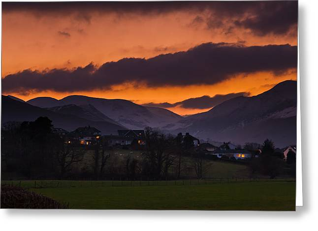 Snow Capped Greeting Cards - Sunset in the lakes Greeting Card by Gary Finnigan