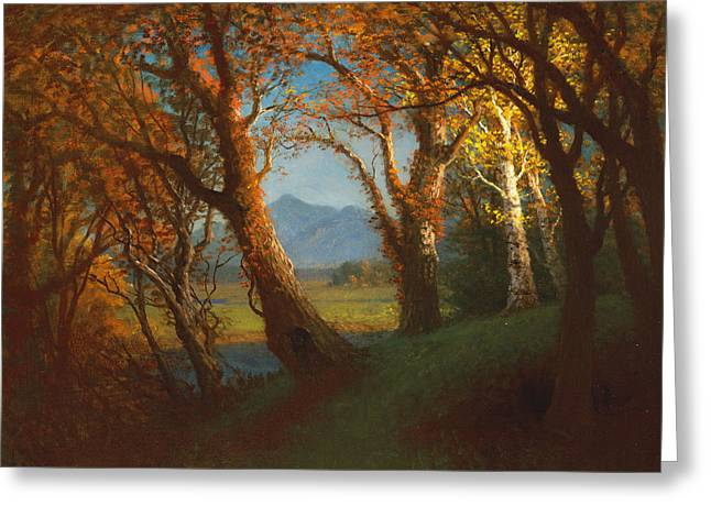 Bierstadt Greeting Cards - Sunset in the Nebraska Territory Greeting Card by Albert Bierstadt