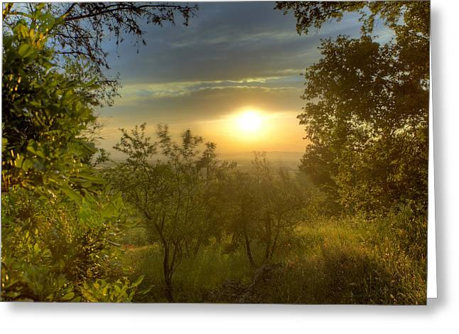 Hilltown Greeting Cards - Sunset in Tuscany Greeting Card by Al Hurley
