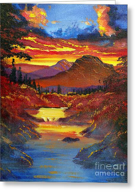 Blue Mountains Red Greeting Cards - Sunset in the Valley Greeting Card by David Lloyd Glover