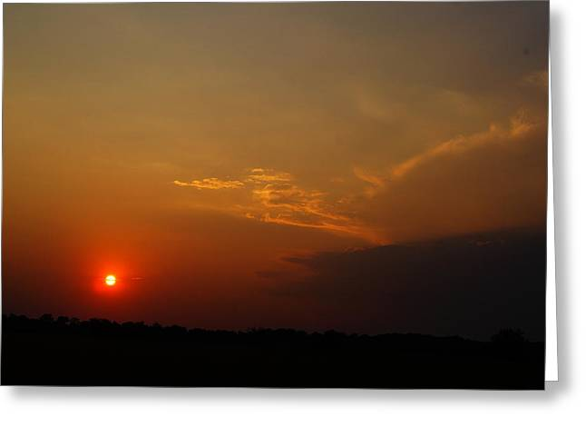 Texture Snow Scapes Greeting Cards - Sunset Greeting Card by Joshua Tillery