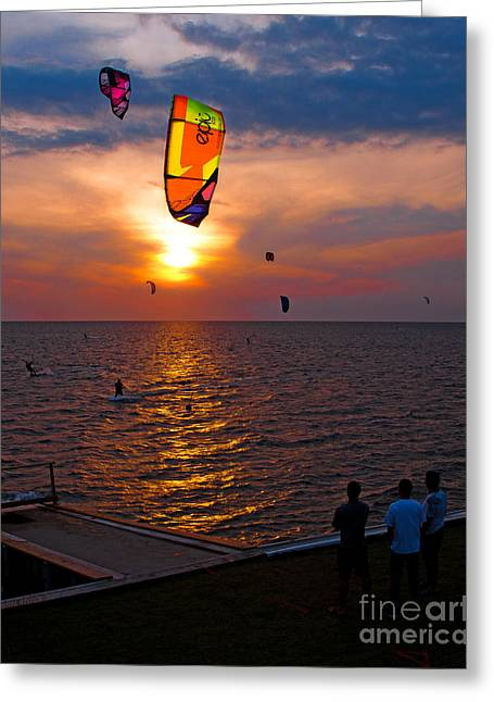 Kiteboarding Greeting Cards - Sunset Kiteboarding on the Pamlico Sound Greeting Card by Anne Kitzman