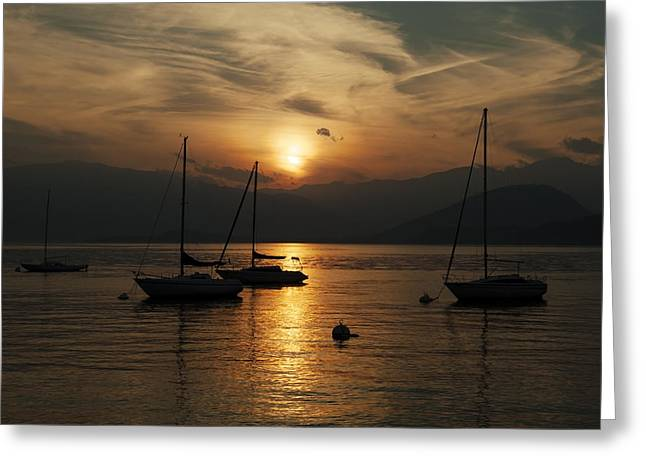 Ticino Greeting Cards - Sunset Lake Maggiore Greeting Card by Joana Kruse