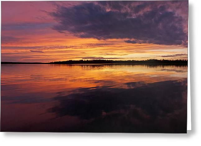 Lanscape Greeting Cards - Sunset Lake Nakamun Greeting Card by David Kleinsasser
