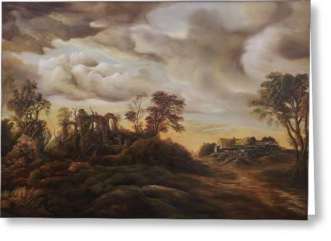 Sunset Landscape Greeting Card by Dan Scurtu