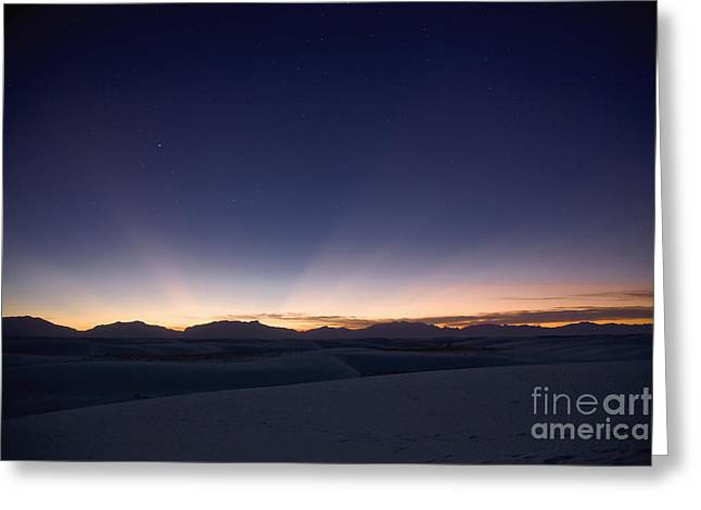 Crepuscular Rays Greeting Cards - Sunset Landscape Depicting Crepuscular Greeting Card by Roth Ritter