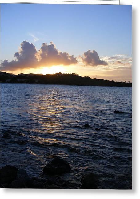 Beach At Night Greeting Cards - Sunset Magic Sapphire Beach Virgin Islands Greeting Card by Elena Tudor