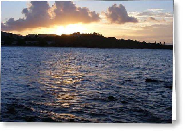 Sunset Magic Sapphire Beach Virgin Islands Greeting Card by Elena Tudor