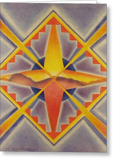 Geometric Design Pastels Greeting Cards - Sunset Greeting Card by Margrit Schlatter