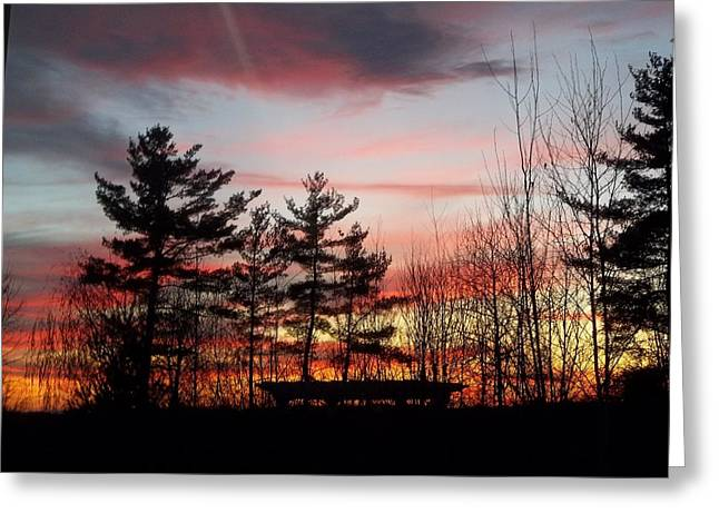 Sunset Prints Pyrography Greeting Cards - Sunset Greeting Card by Marilyn Sargent