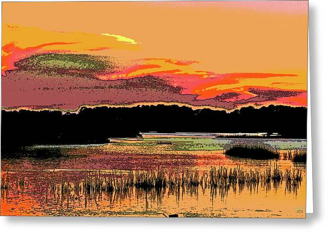 Cedar Key Greeting Cards - Sunset Marsh Greeting Card by William McEachern