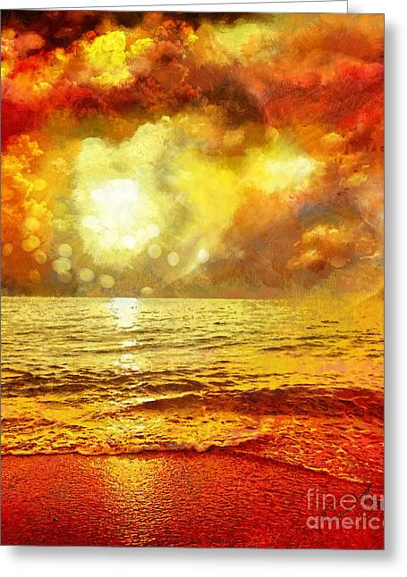 Ocean. Reflection Greeting Cards - Sunset Greeting Card by Mo T