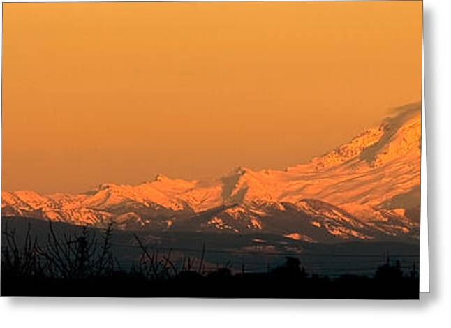 Snow Capped Greeting Cards - Sunset Mount Baker Greeting Card by Bea Carlson