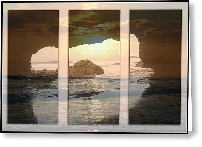 Caves Pyrography Greeting Cards - Sunset  Greeting Card by Nelly Avraham