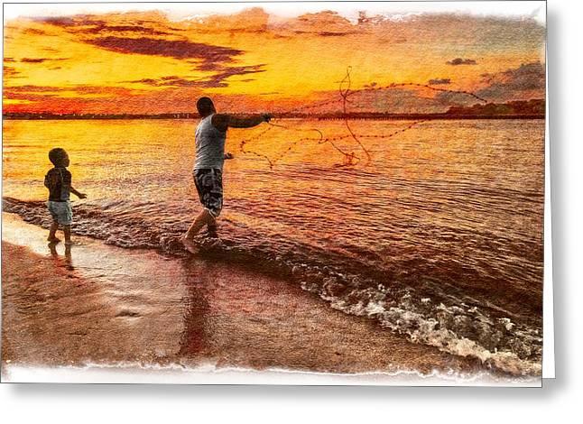 Jupiter Inlet Greeting Cards - Sunset Netcasting Greeting Card by Debra and Dave Vanderlaan