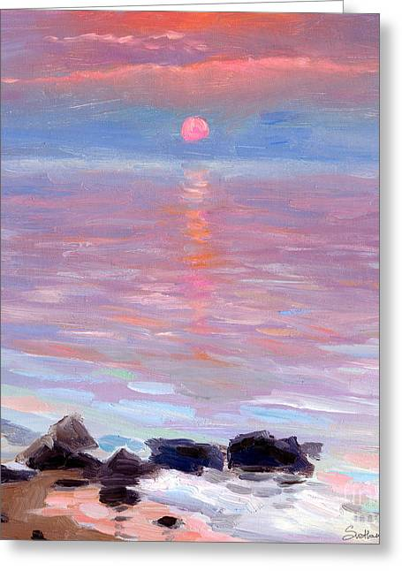 Seascape Drawings Greeting Cards - Sunset ocean seascape oil painting Greeting Card by Svetlana Novikova