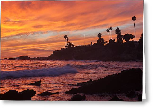 Sandstone Bluffs Greeting Cards - Sunset off Laguna Beach Greeting Card by Cliff Wassmann