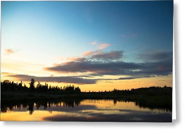 Darren Pyrography Greeting Cards - Sunset on a lake Greeting Card by Darren Langlois