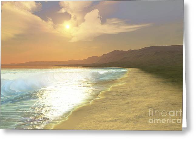 Island .oasis Greeting Cards - Sunset On A Quiet Peaceful Beach Greeting Card by Corey Ford