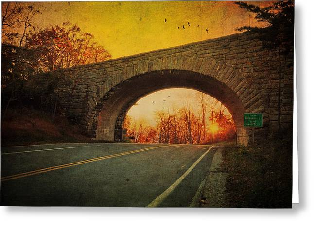 Autumn Photographs Greeting Cards - Sunset On Blue Ridge Parkway Greeting Card by Kathy Jennings