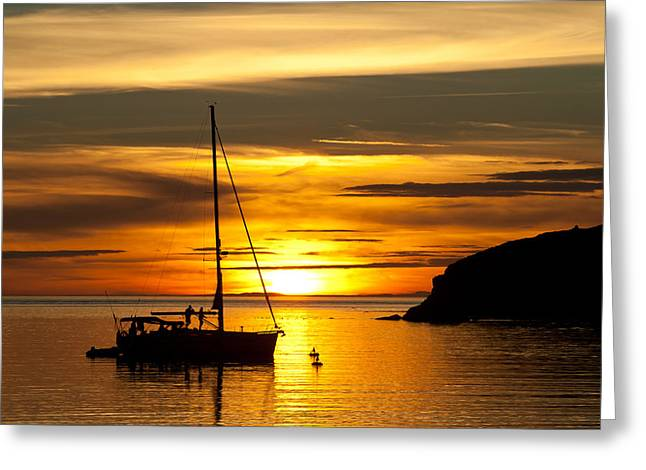 Deception Pass In Washington State Greeting Cards - Sunset On Bowman Bay Greeting Card by Cheryl Perin