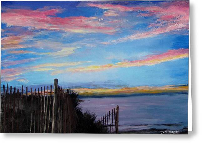 Sunset on Cape Cod Bay Greeting Card by Jack Skinner
