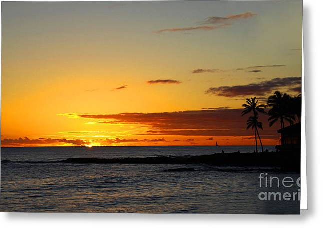 Yellow Trees Greeting Cards - Sunset on Kauai Greeting Card by Dana Kern