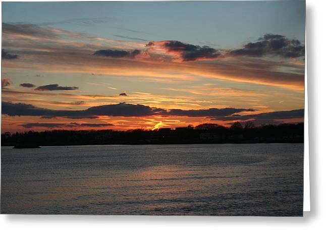 Stephen Melcher Greeting Cards - Sunset on Long Island Sound Greeting Card by Stephen Melcher