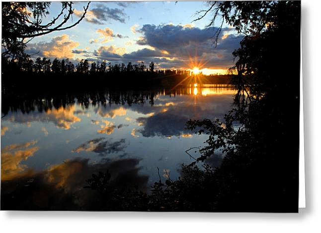 Yellow Canoe Greeting Cards - Sunset on Polly Lake Greeting Card by Larry Ricker