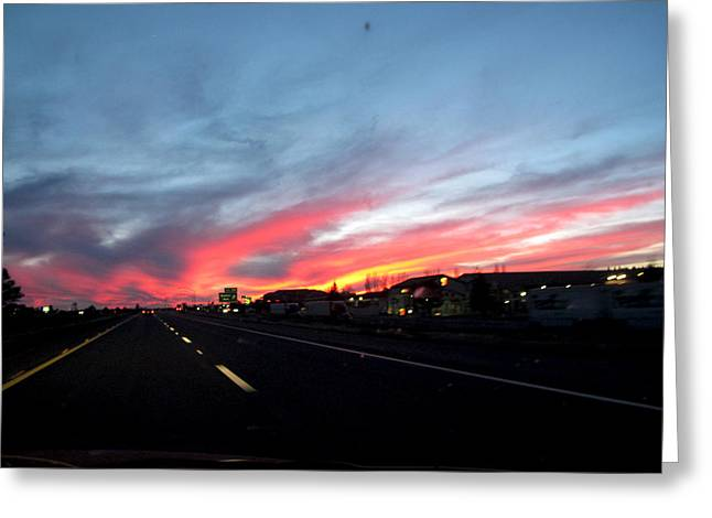 Sunset On Route 66 Greeting Card by Kathy Corday
