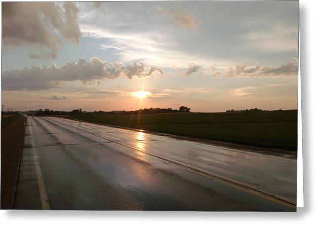Sunset After A Storm Greeting Cards - Sunset on Shiny Highway Greeting Card by Brian  Maloney