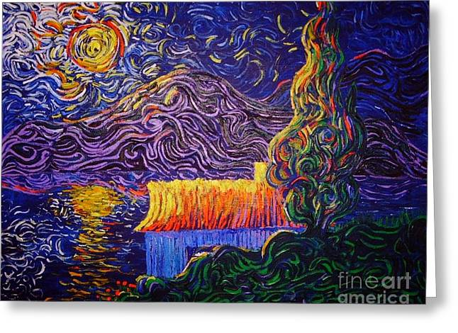Squiggleism Greeting Cards - Sunset on Sunroof Greeting Card by Stefan Duncan