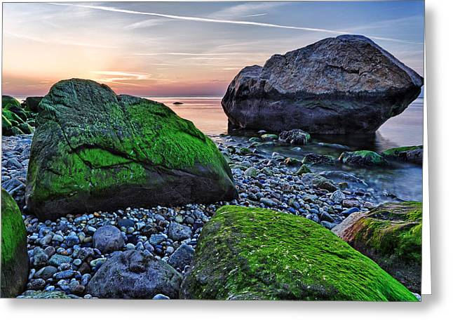 Long Island Sound Greeting Cards - Sunset on the Beach at Horton Point Greeting Card by Rick Berk