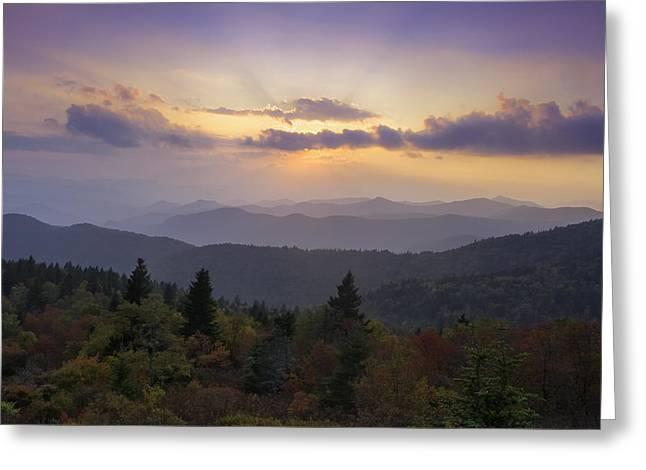Fall Photographs Greeting Cards - Sunset on the Blue Ridge Parkway Greeting Card by Rob Travis